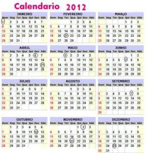 Calendário 2012 – Festas e Feriados