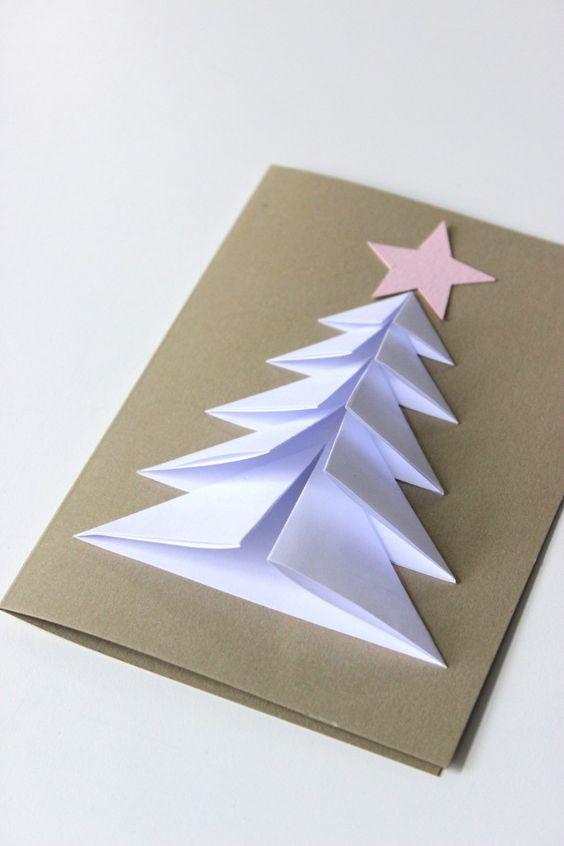 cartão de natal com cartolina e folha a4