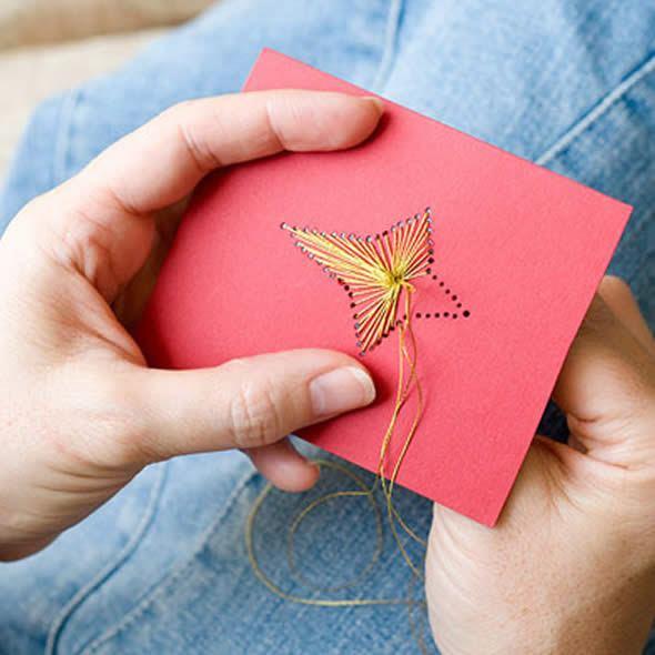 cartão de natal com costura