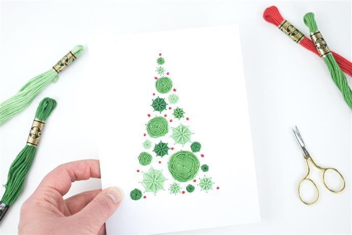cartao de natal com linha