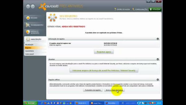 Como colocar código de ativação do Avast